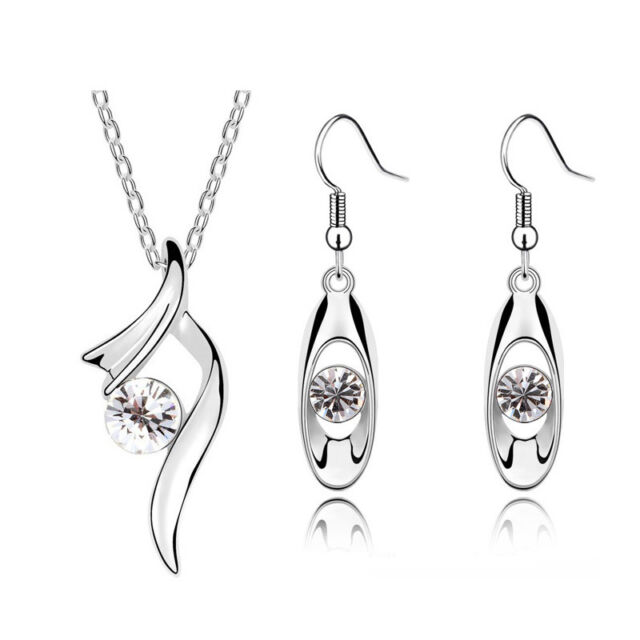 Diamante White Ribbon Crystal Bridal Jewellery Set Drop Earrings Necklace S436