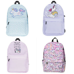 4916f54a21 Image is loading Girl-Lovely-Rainbow-3D-Unicorn-Printing-Backpack-Travel-