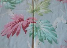 Antique Vtg. Tropical Foliage Barkcloth Era Cotton Fabric ~Pink Aqua Lime Gray