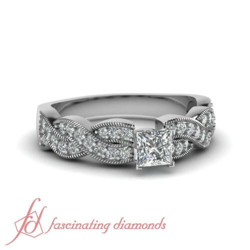 .60 Ct Princess Cut Untreated Diamond Milgrain Pave Set Womens Engagement Ring
