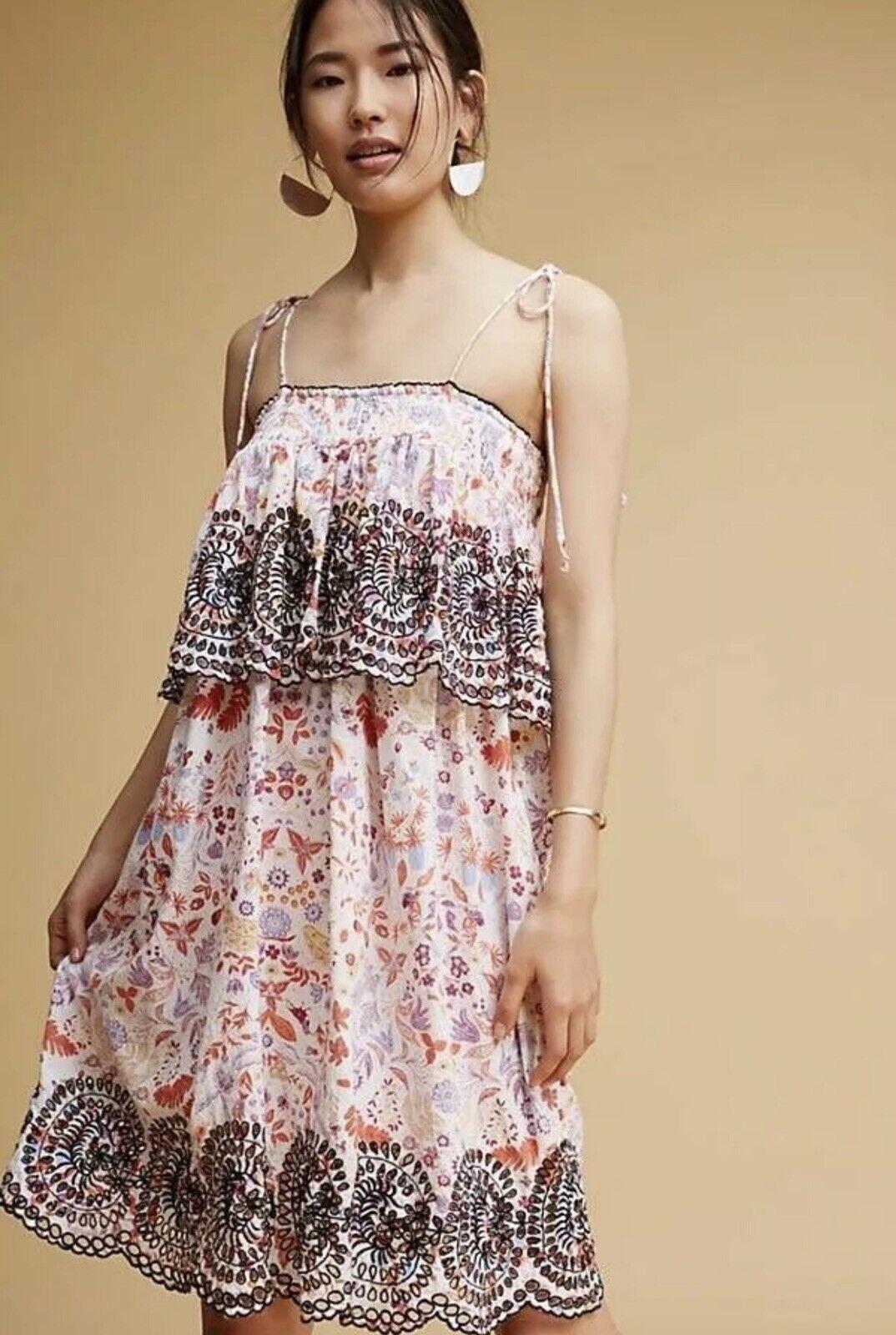 NWOT   Anthropologie Samsa Embroidered Sundress Antik Batik Floral-sz Small