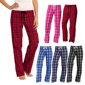 Women-Flannel-Plaid-Pajamas-PJ-Casual-Sleep-Lounge-Pants-100-Cotton