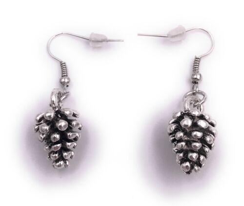 Piñas abeto aretes remolque pendiente plata de metal
