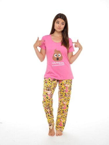Ladies Cotton Jersey Short Sleeve Print Pyjamas Sets Nightwear Sizes 8-22 Emoji