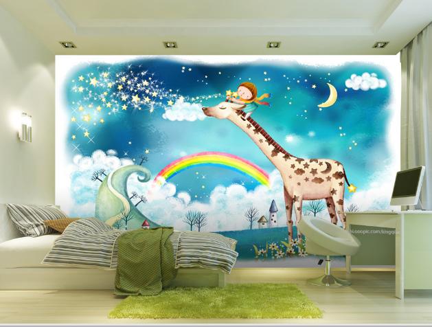 3D Regenbogen Giraffe 865  Tapete Wandgemälde Tapete Tapeten Bild Familie DE