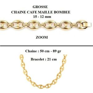 Details about Dolly-jewelry big chain convex coffee bean 15-12mm gold  plated 18k laminate- show original title