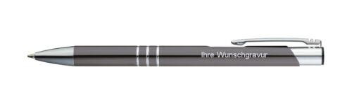 mit Gravur anthrazit Farbe 20 Kugelschreiber aus Metall