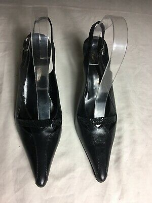 . Clever Zaccho Women Black Slingback Heel Sandals Size 7/40 p43
