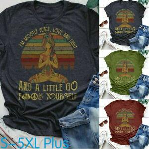 Summer Womens Graphic T Shirt Casual Print Bohemian Shirt Yoga Boho Tops