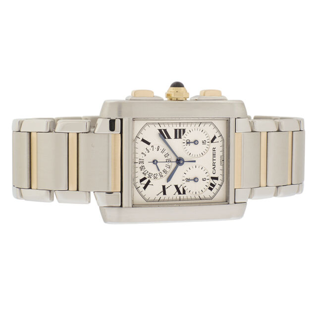 Men's Stainless Steel & 18K Yellow Gold Cartier Tank Francaise Chronograph, Ref.