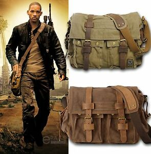 Image Is Loading Men 039 S Vintage Canvas Leather Satchel School