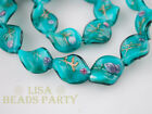 10pcs Green Lampwork Glass Jewelry Findings Twist Loose Spacer Beads 20X17mm