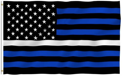 3x5 Foot EMS Thin White Line USA Flag Police Fire Support Brothers Sisters 100D