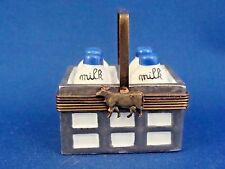 Parry-Vieille - Bottles of Milk in Basket - authentic FRENCH LIMOGES