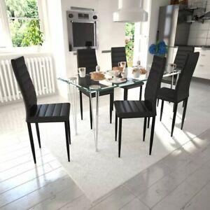 Tavolo Bianco E Sedie Nere.Dettagli Su Vidaxl Set 6 Sedie Tavola Nere Moderne Linea Sottile 1 Tavolo Vetro Per Salotto
