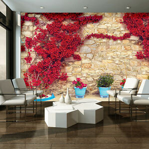 à Condition De Image La Fresque Papier Peint Papier Peint Poster Rouge Fleurs Nature Plantes 3fx3579p8-afficher Le Titre D'origine