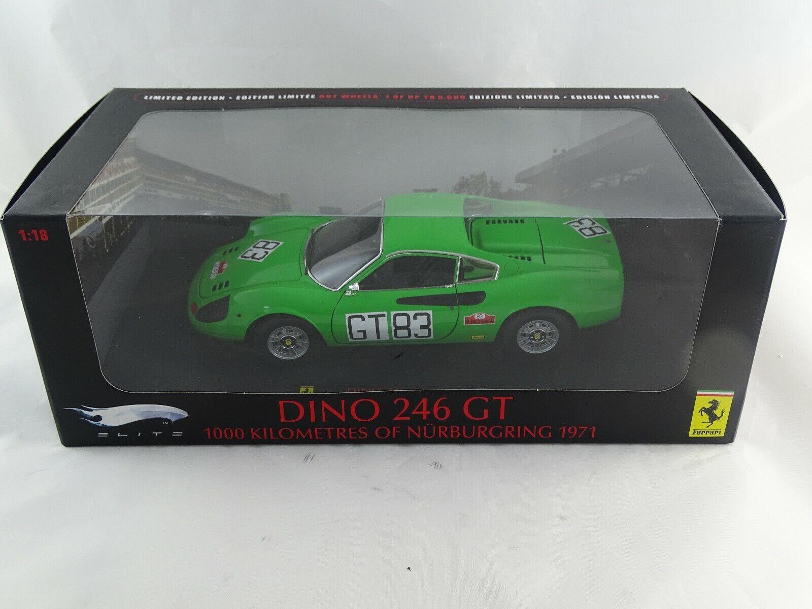 1 18  Mattel Elite Ferrari Dino 246 GT 1000 HM of Nürburgbague 1971  83 Vert RAR §  grosses économies