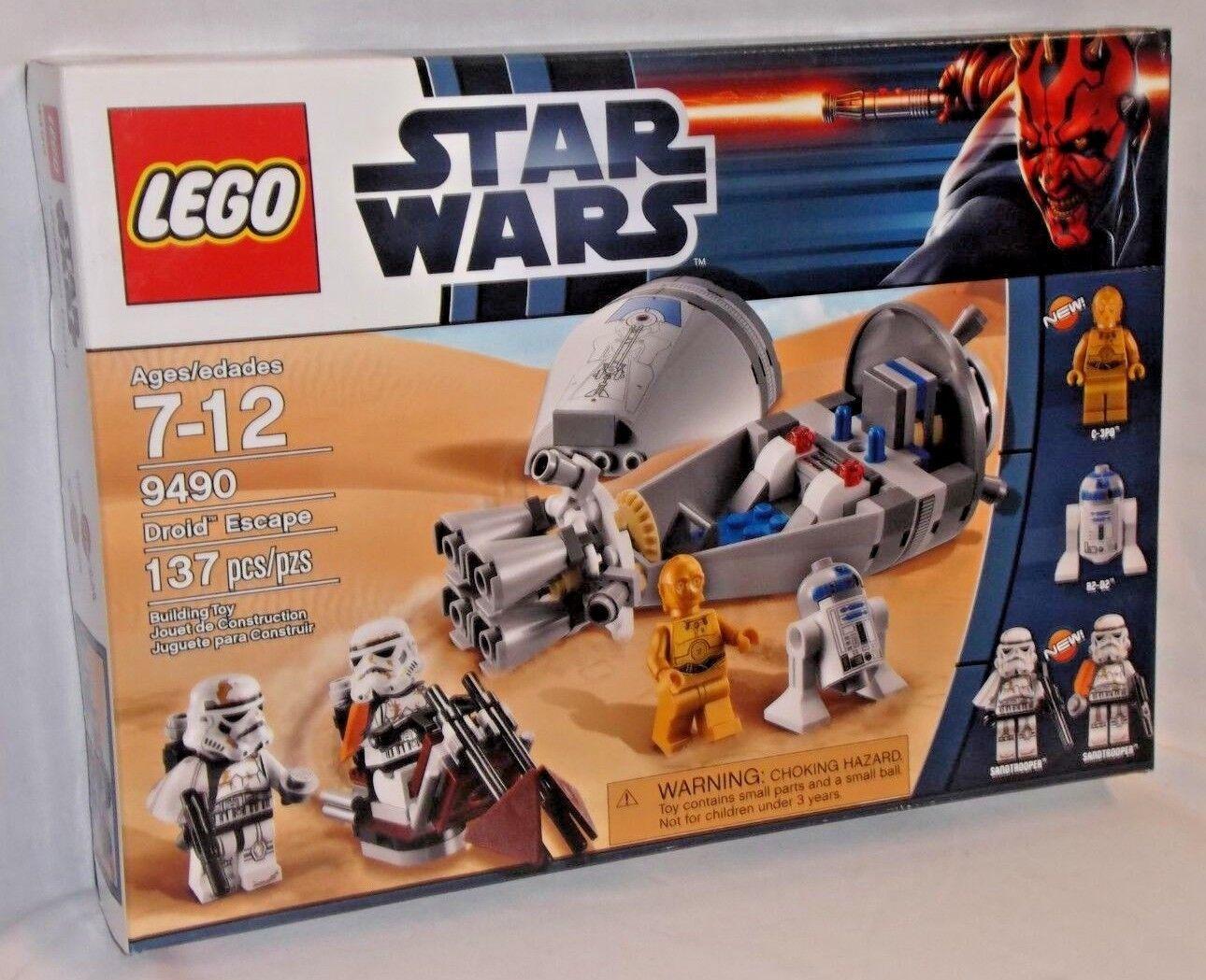 SEALED 9490 LEGO Star Wars DROID ESCAPE C-3PO R2-D2 Sandtrooper Spaceship 137 pc