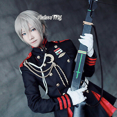 Original Seraph Of The End Shinya Hiragi Cosplay Perücke +cap Anime Grau Welling Haar De