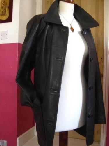 Signore vera taglia in Uk Large 16 pelle Trench Line marrone Long giacca 18 prossimo cappotto FHfFqrE