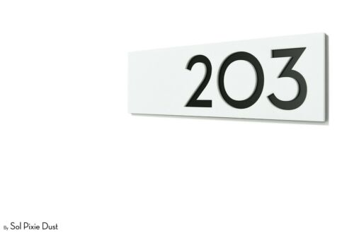 Modern Apartment door Numbers Label White Acrylic with Black Acrylic Backing