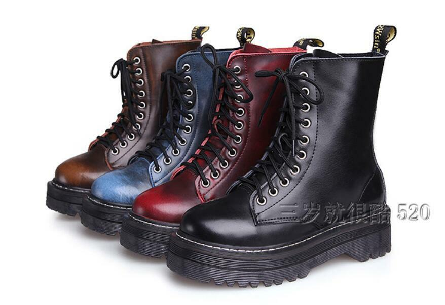 Womens High Top Platform Punk Goth Leather Ankle Boots Lace Up Vintage Shoes Top