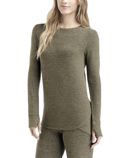 CUDDL DUDS Women's Soft Knit Long Sleeve Crew Neck Top sz M Medium Olive Layers