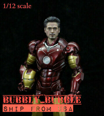 1:12 Iron Man Tony Stark Head Carved SHF MK4 Head Model Fit SHF 6/'/' Male Body