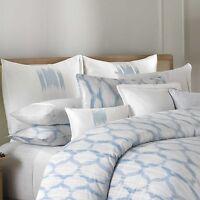 Barbara Barry Alpen Stitch Deft Embroidered Euro Pillow Sham White Blue