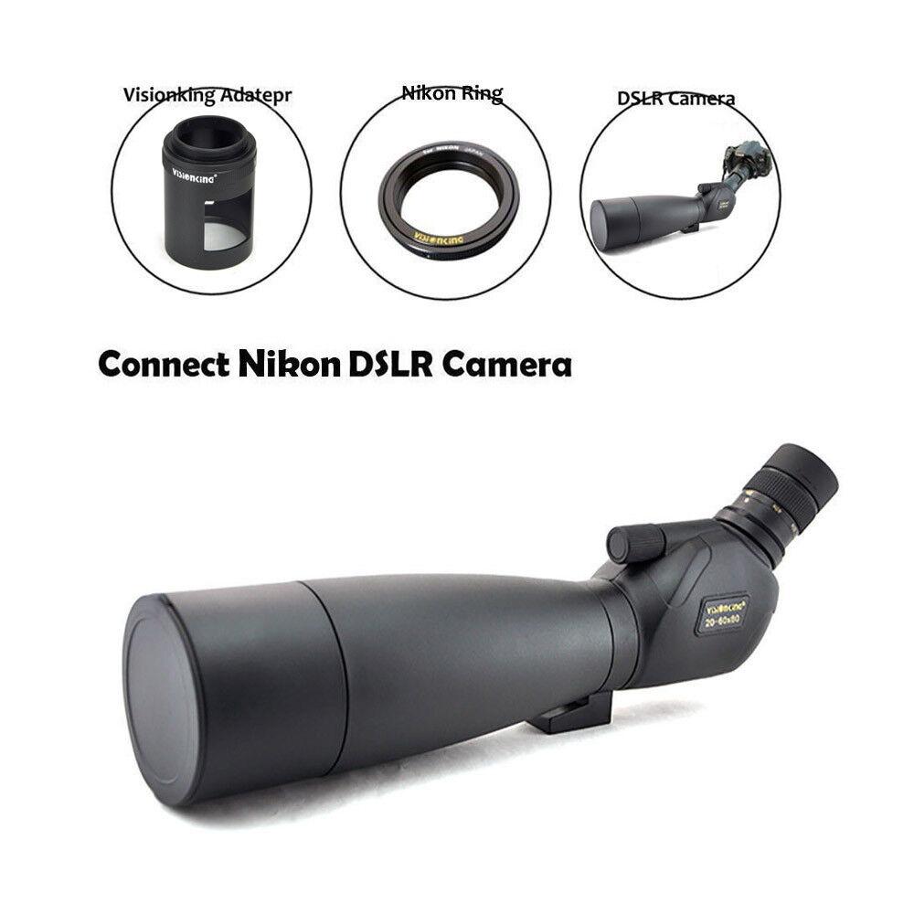 Visionking 20-60x80 Bak4 Waterproof Spotting scope W Tripod Nikon Camera Adapter