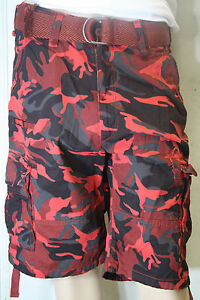 Men's Jordan Craig Camo Shorts Utility Cargo! BLACK-RED ...