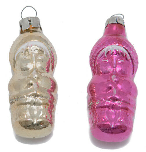 2 Musicians VINTAGE glass CHRISTMAS ORNAMENTS Russian XMAS tree decoration Pink