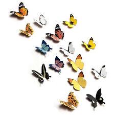 15Pcs DIY 3D Butterfly Wall Stickers Art Decal Paper Butterflies Home Decor