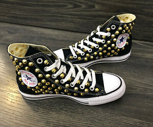 Converse-All-Star-scarpe-uomo-donna-alte-Chuck-Taylor-BORCHIATE-GOLD-black