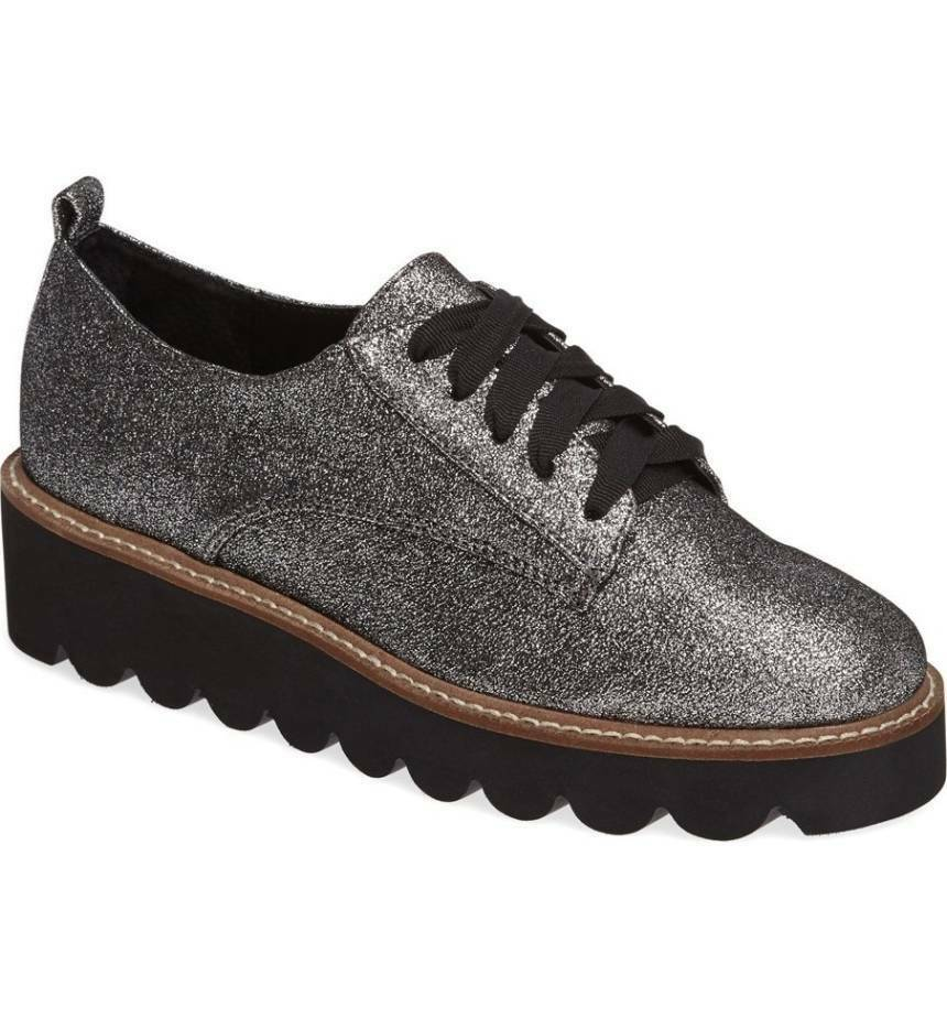 Shellys London Jack Pewter Pailleté Métallique Lacets Plateforme Creeper Oxford