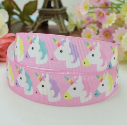 """1M 22mm 7//8/"""" UNICORN GROSGRAIN RIBBON 99p CAKE PARTY GIRLS HAIR BOW CRAFTS PINK"""