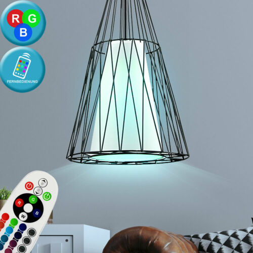 RGB LED Vintage Pendel Lampe Ess Zimmer Käfig Stoff Decken Leuchte FERNBEDIENUNG