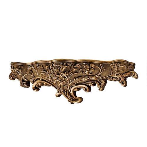 "30/"" Art Nouveau Organic Floral Shapes Antiqued Gold Toned Brussels Wall Shelf"