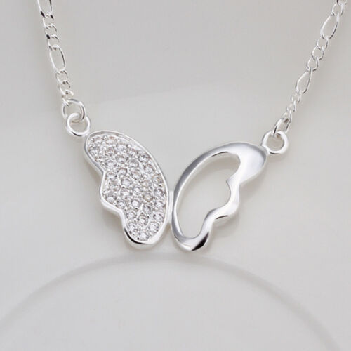 Elegant 925 Sterling Silver Filled SF Butterfly Cz Pendant Necklace N-A628 Gift