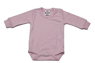 BABY BODYSUIT FULL SLEEVE SHOULDER POPPERS 100/% COTT PRISM PINK PINK SHADE