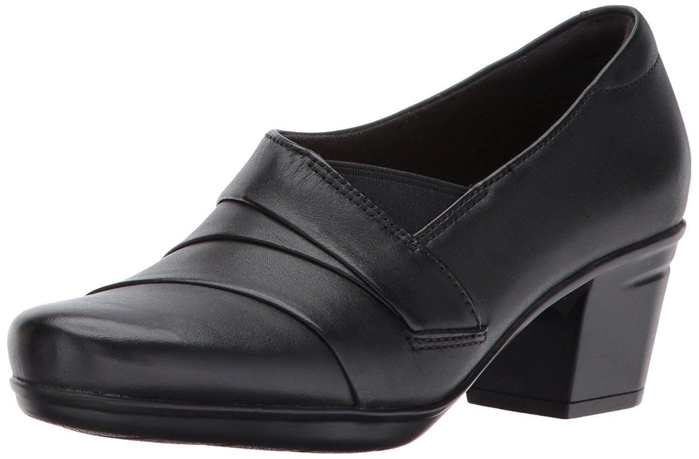 Clarks On EMSLIE WARBLER Womens Black Leather 29224 Slip On Clarks Pump Heels ef2b4b