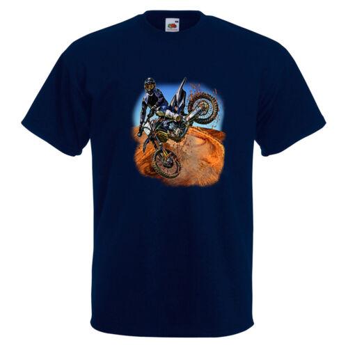 Motocross Jump Kick Mens PRINTED T-SHIRT Bike Extreme Sport Kick Trick Dirt