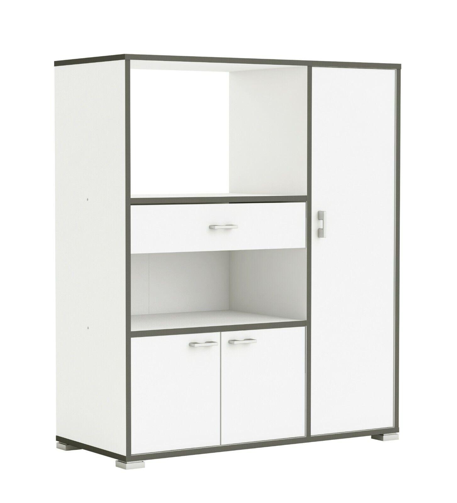 Mueble auxiliar para cocina con 3 puertas color Blanco y Gris 107X90x40cm