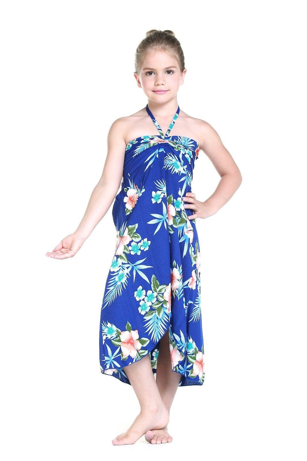00401660b79c Girl Hawaiian Butterfly Dress in Hibiscus Blue Size 8 for sale online | eBay