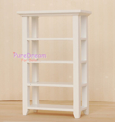 1:12  Dollhouse Miniature Wooden White 4 Layer Display Stand/Shelf  WL017