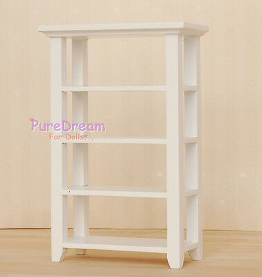1:12  Dollhouse Miniature Wooden White 4 Layer Display Stand/Shelf  WL017