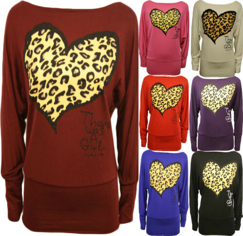 New Womens Plus Size Leopard Heart Long Baggy Batwing Sleeve Slouch Tops 8-24