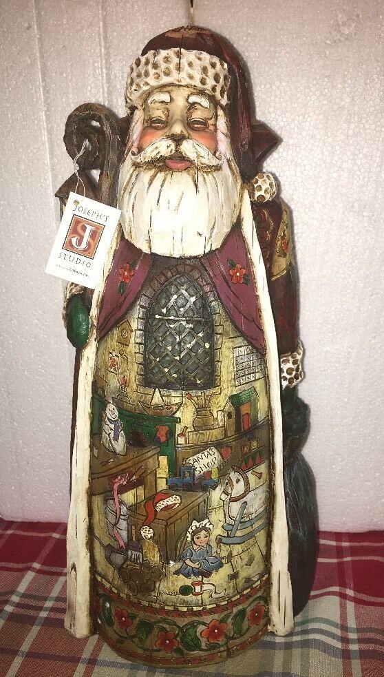 16.5  Joseph's Studio Santa Claus with Toy Shop Christmas Figurine 27067