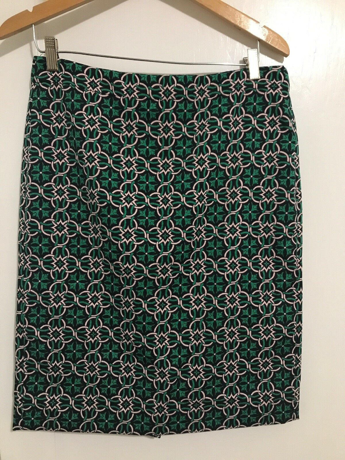 J. Crew Pencil Skirt Womens Size 10 Pink Green Nordic Knot Pattern Classic Lined