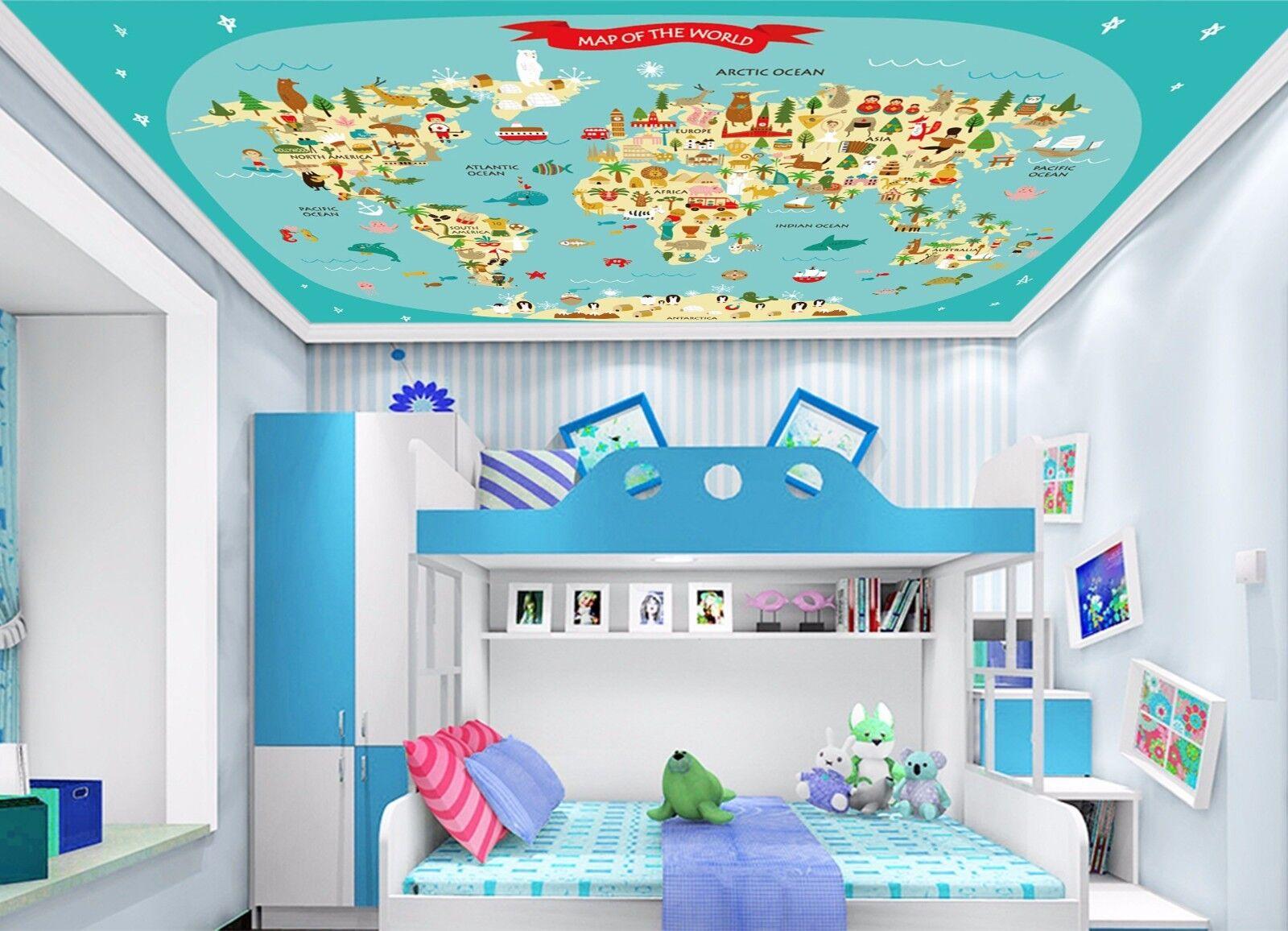 3D Animal Map  754 Ceiling WallPaper Murals Wall Print Decal Deco AJ WALLPAPER